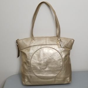 COACH Laura Gold Metallic Leather Tote 18336